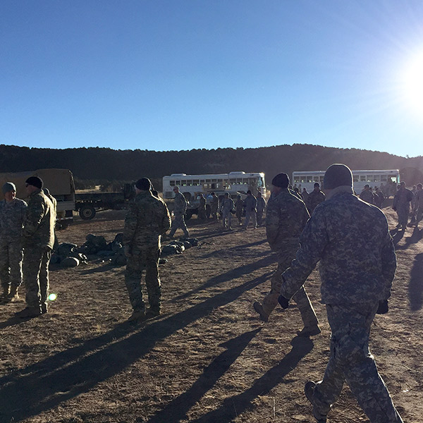 Soldiers waiting in the drop zone