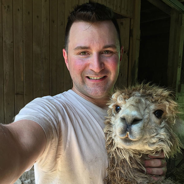 John with Carl in the barn