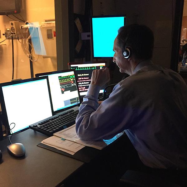 Operator in sim lab control room