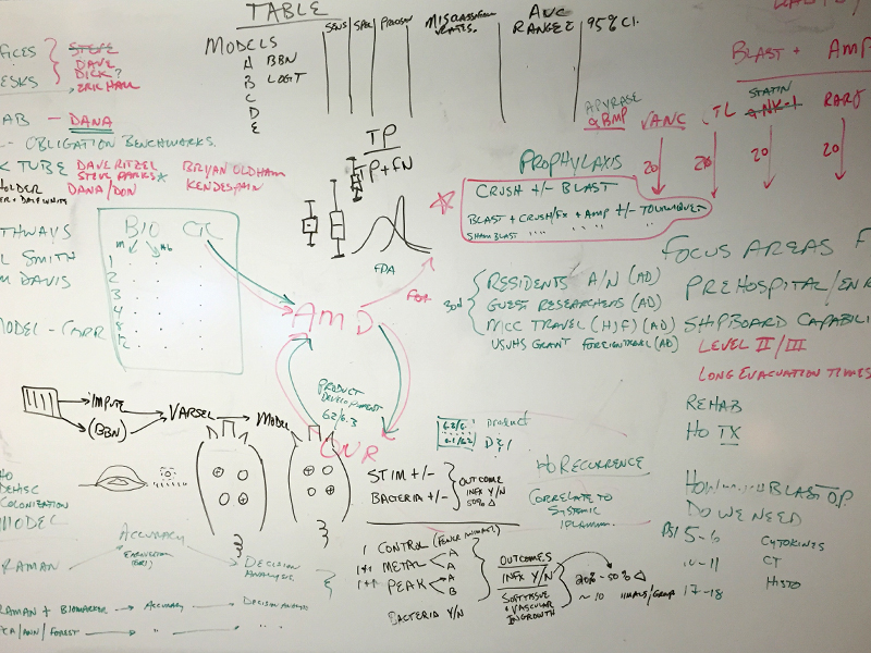 Whiteboard with research notes
