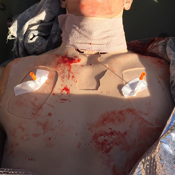 needle decompression on chest of simulation mannequin