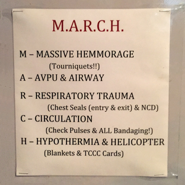 sign on wall with MARCH algorithm