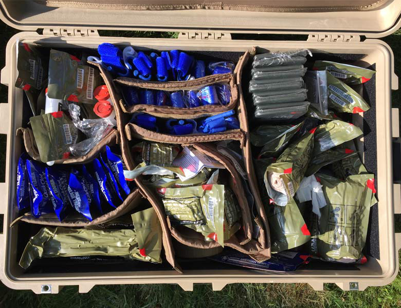 box of tactical medic training supplies