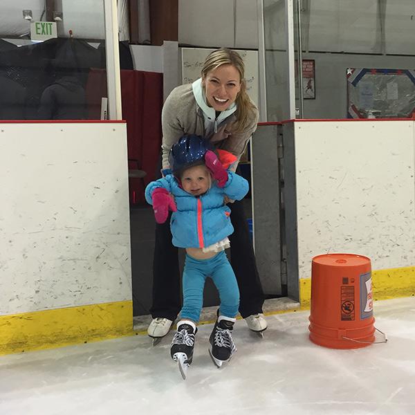 morgan and resese skating on ice rink