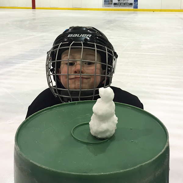 snowman made of ice shavings