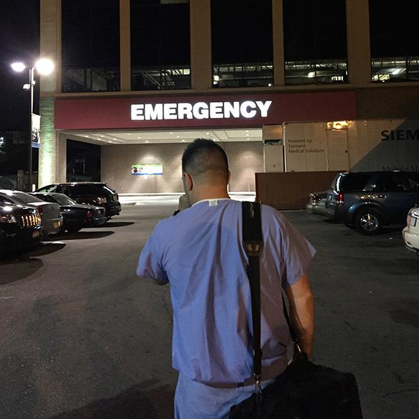 John walks into hospital