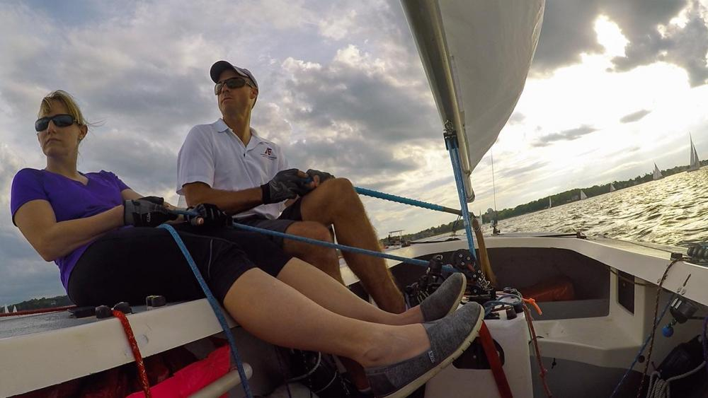 Dawn and Dr. Forsberg sitting on a sailboat