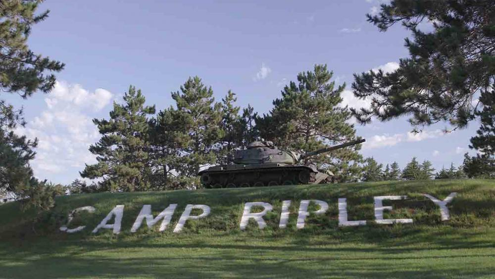 Sign of Camp Ripley written in the grass.