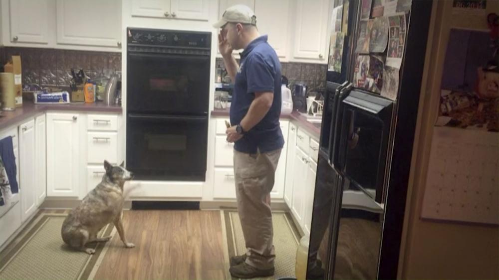John and his dog performing a trick in the kitchen