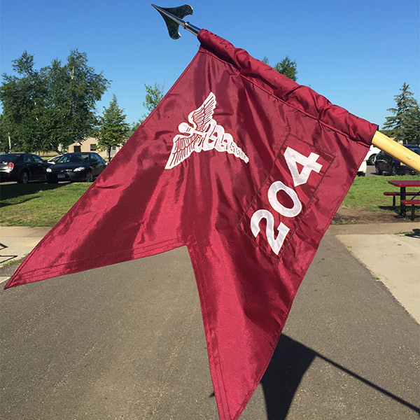 Red flag with medical symbol and number 204