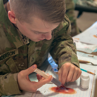 US Army solider Konner Anderson creating prosthetic wounds