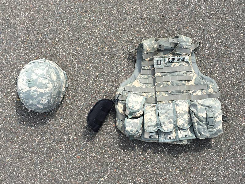Close up of military bullet proof vest and helmet
