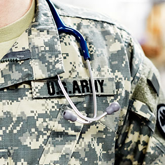 A close-up of a patch on an Army uniform.